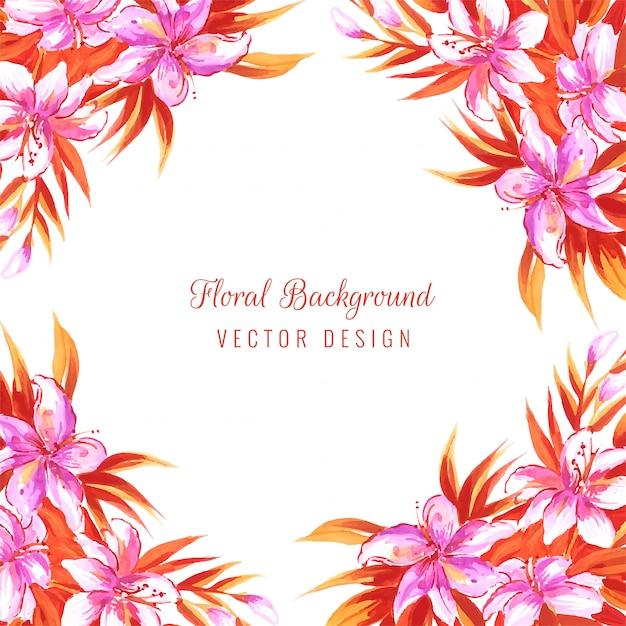 Main dessiner carte florale décorative colorée mariage Vecteur gratuit