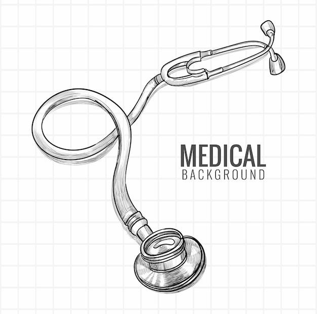 Main Dessiner La Conception De Croquis De Stéthoscope Médical Vecteur gratuit