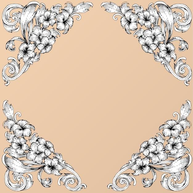 Main dessiner défilement de cadre baroque vintage Vecteur Premium