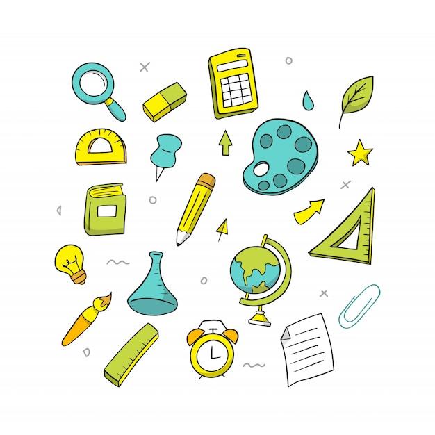 Main dessiner à l'école Vecteur Premium