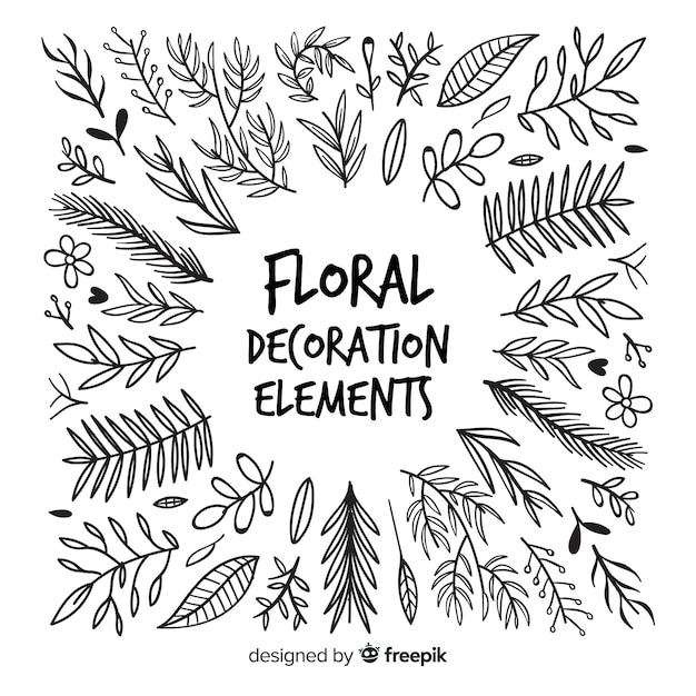 Main dessiner des éléments de décoration florale Vecteur gratuit