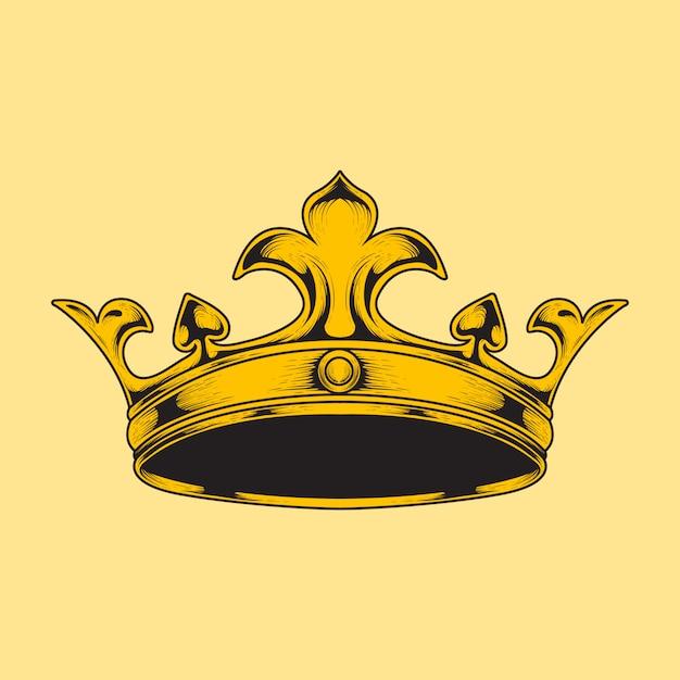 Main dessiner illustration style couronne de gravure Vecteur Premium