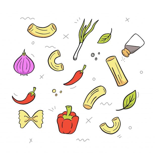Main dessiner macaroni Vecteur Premium