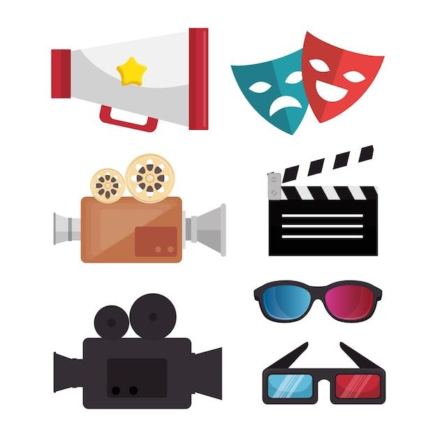 Main dessiner masque lunettes haut-parleur bobine billet Vecteur Premium