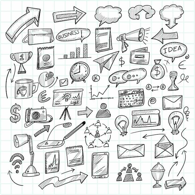 Main Dessiner La Technologie Esquisse Doodle Scénographie Vecteur gratuit