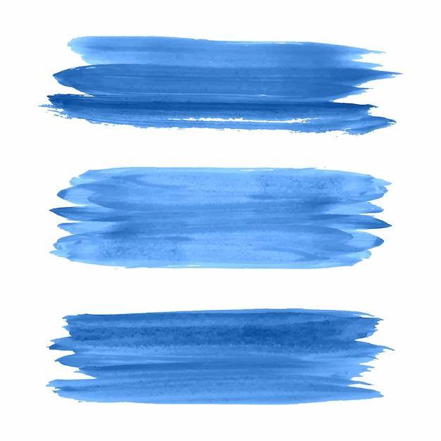 Main dessiner vector aquarelle strokes bleu set Vecteur gratuit