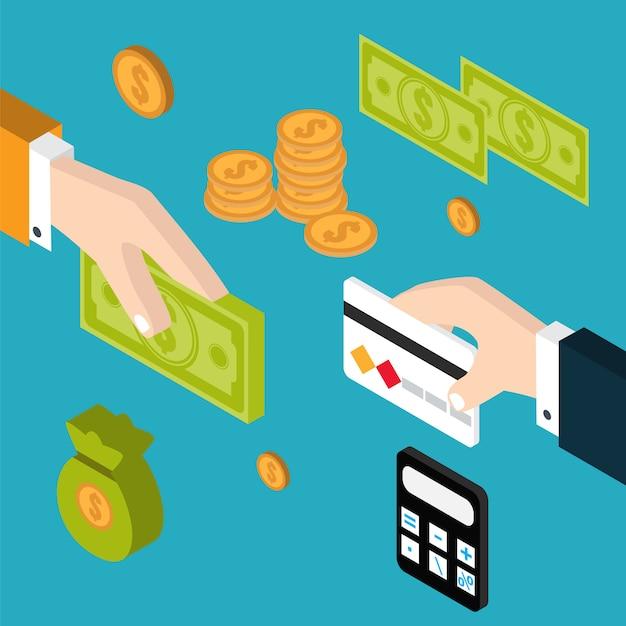 Main donnant de l'argent à l'autre main Vecteur Premium