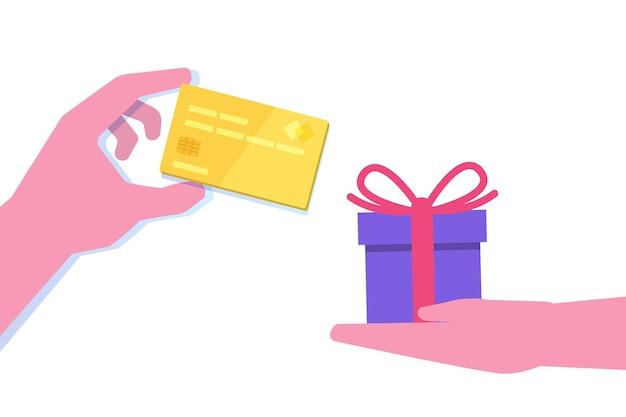 Main Donnant La Carte De Crédit Et La Main Avec Un Cadeau Au Design Plat Vecteur Premium
