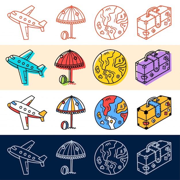 Main draw travel plane, jeu d'icônes de la terre dans un style doodle pour votre conception. Vecteur Premium