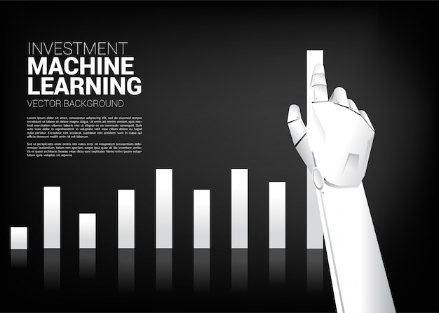La main du robot déplace le graphique de l'entreprise vers le haut Vecteur Premium