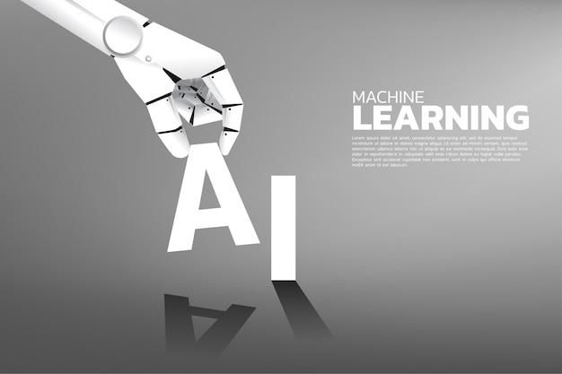 La main du robot met a sur le mot ia. intelligence artificielle Vecteur Premium