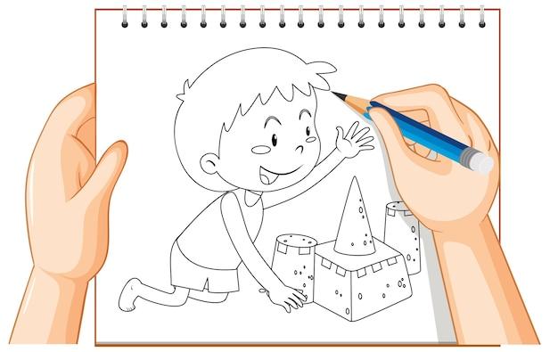 Main, écriture, De, Garçon Bâtiment, Château Sable Vecteur gratuit