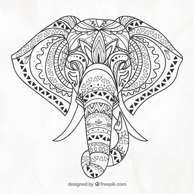 Main éléphant dessiné dans un style ethnique Vecteur gratuit