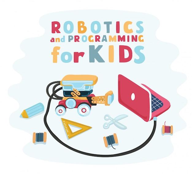 Main D'enfants Intelligents A Conçu La Robotique Pour Les Enfants, Concepteur De Robot Avec Un Train. Conception De Conception électronique. Assemblez Le Robot Vecteur Premium