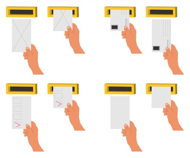 Main envoyer la lettre et les blancs dans une boîte aux lettres. set d'icônes plat cartoon vector isolé Vecteur Premium
