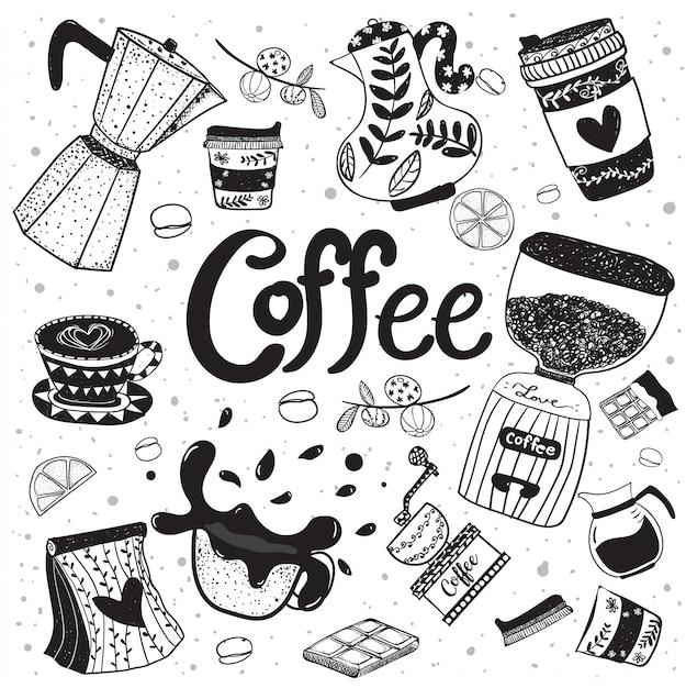 Main d'équipement de café doodle dessin élément vectoriel plat Vecteur Premium