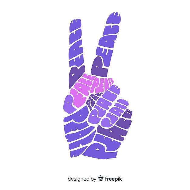 Main faisant le signe de la paix avec style dessiné à la main Vecteur gratuit