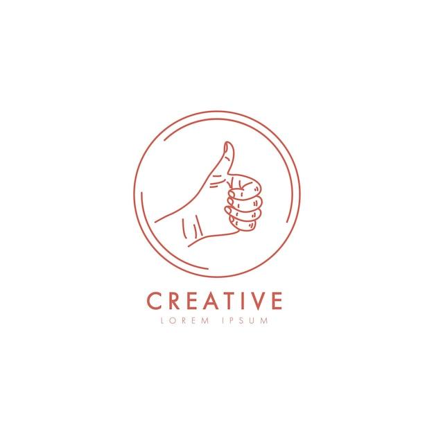 Main Féminine Comme Logo Dans Un Style Linéaire Minimal. Vecteur Premium