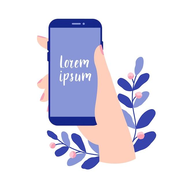 Main féminine tenant un smartphone avec écran blanc. vecteur smartphone, appareil mobile, application mobile de conception de modèle. illustration vectorielle plane dans les couleurs bleus. Vecteur Premium