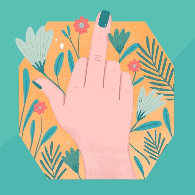 Main De Femme Montrant Le Symbole De La Baise Avec Des Fleurs Vecteur gratuit