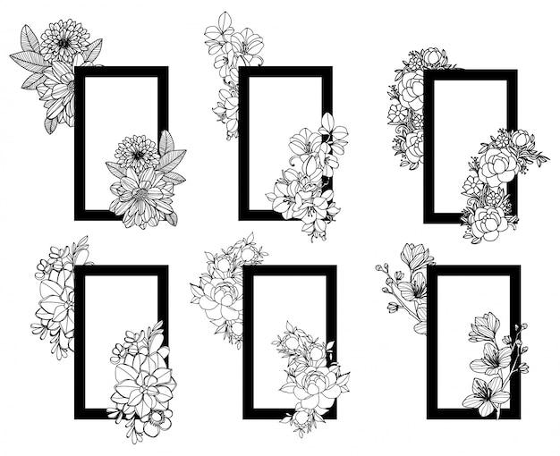 Main de fleur cadre dessin et croquis noir et blanc Vecteur Premium