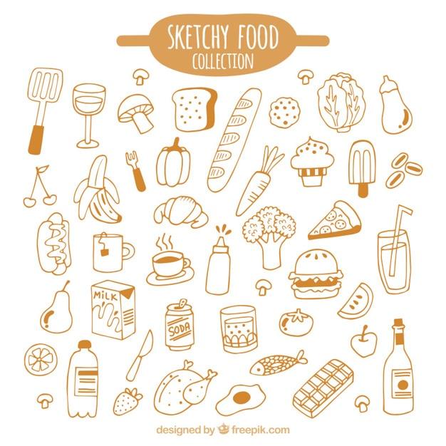 Main genre tirée des aliments pack Vecteur gratuit