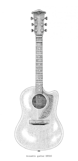 Main De Guitare Acoustique Dessin Illustration De Gravure Vintage Vecteur Premium