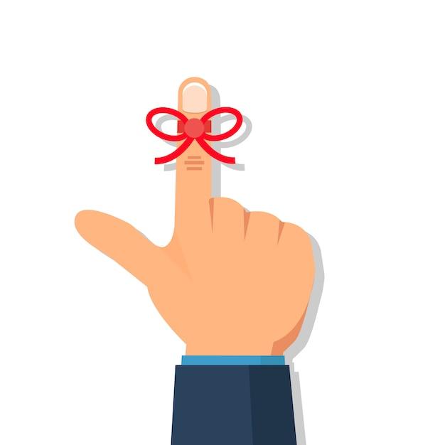 Main d'homme d'affaires avec une chaîne de rappel sur le doigt. Vecteur Premium