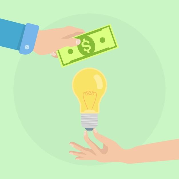 La Main De L'homme Détient De L'argent Et Une Ampoule. Acheter Une Idée, Investir Dans L'innovation, La Technologie Commerciale Moderne Vecteur Premium