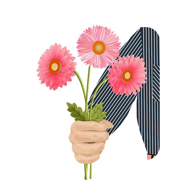 Une main d'homme donne un bouquet de trois gerberas roses Vecteur Premium