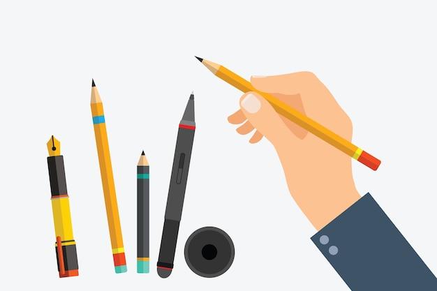 Main de l'homme avec des outils d'écriture et des fournitures de bureau Vecteur Premium