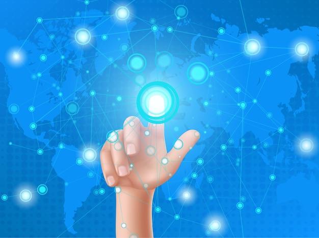 La main humaine appuie sur le bouton de l'affichage tête haute Vecteur gratuit