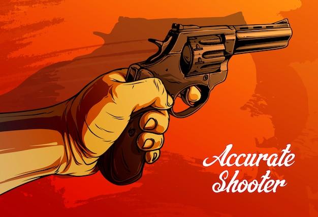 Main humaine de dessin animé tenant vieux revolver Vecteur Premium