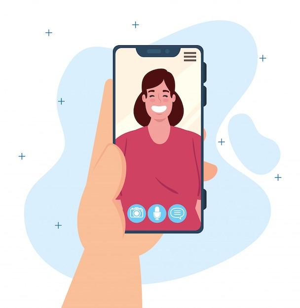 Main Humaine Tenant Un Appel Vidéo Smartphone Sur L'écran Avec Une Jeune Femme, Concept De Médias Sociaux Vecteur Premium