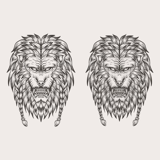 Main De Lion Dessiner Illustration Vectorielle Vecteur Premium