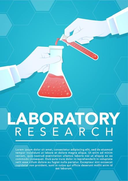 Main de médecin tenant un tube à essai en verre et bécher de laboratoire Vecteur Premium