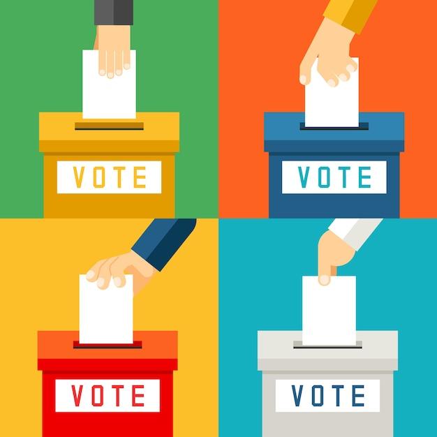 Main mettant le papier de vote dans l'urne. vote référendaire et électeur de choix Vecteur gratuit