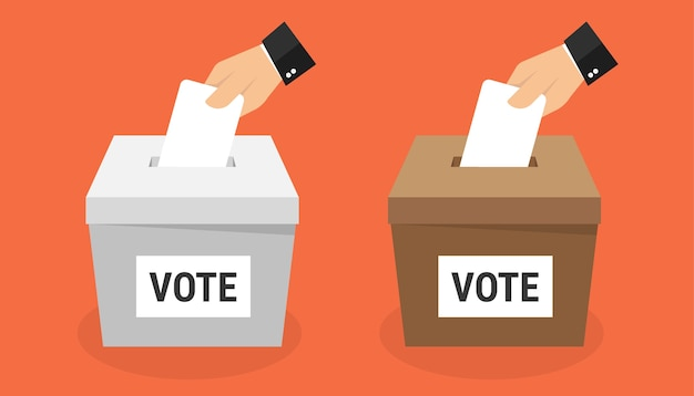Main mettant le papier de vote dans l'urne. Vecteur Premium