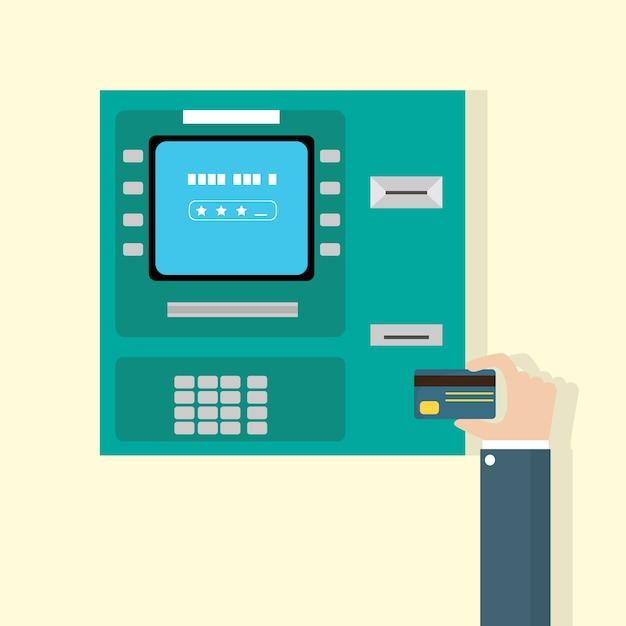 Main mettre la carte de crédit dans un distributeur automatique de billets Vecteur Premium