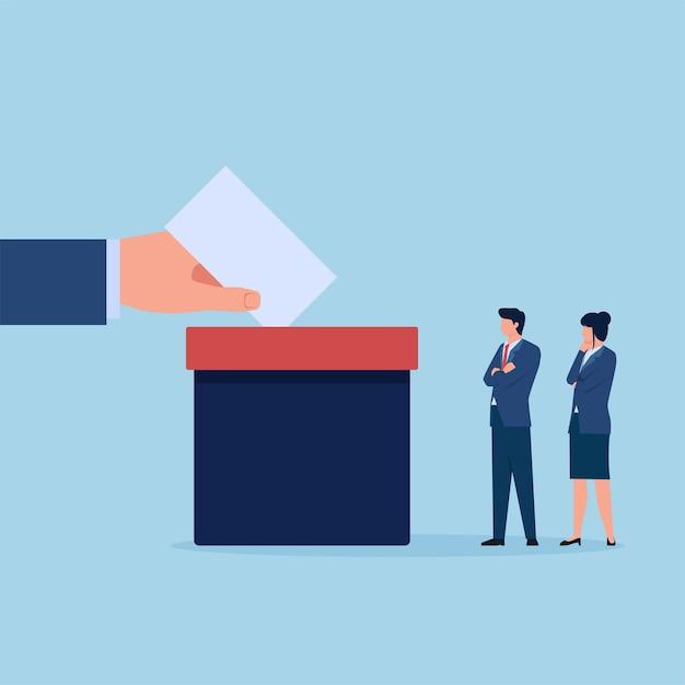 Main Mettre Le Papier De Vote Dans La Boîte Pendant Que Les Gens Attendent Pour Voter Vecteur Premium