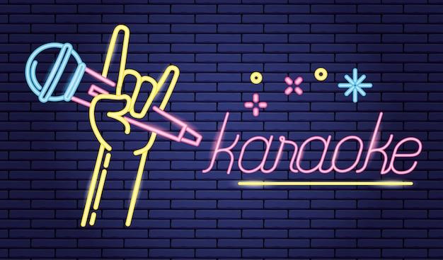 Main Avec Microphone En Karaoké Sur Violet, Style Néon Vecteur gratuit