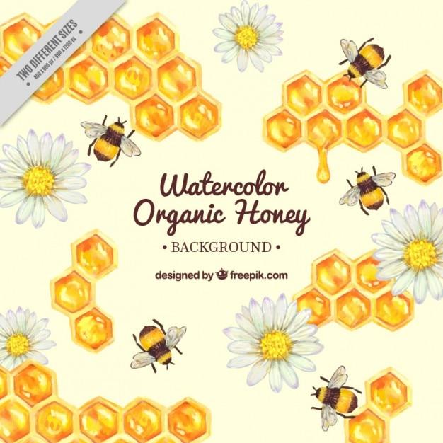 Main en nid d'abeilles peintes avec des abeilles fond Vecteur gratuit