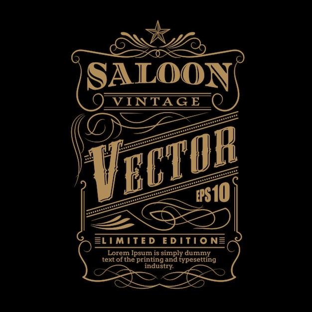 Main occidentale dessinée cadre étiquette frontière vecteur vintage illustratio Vecteur Premium