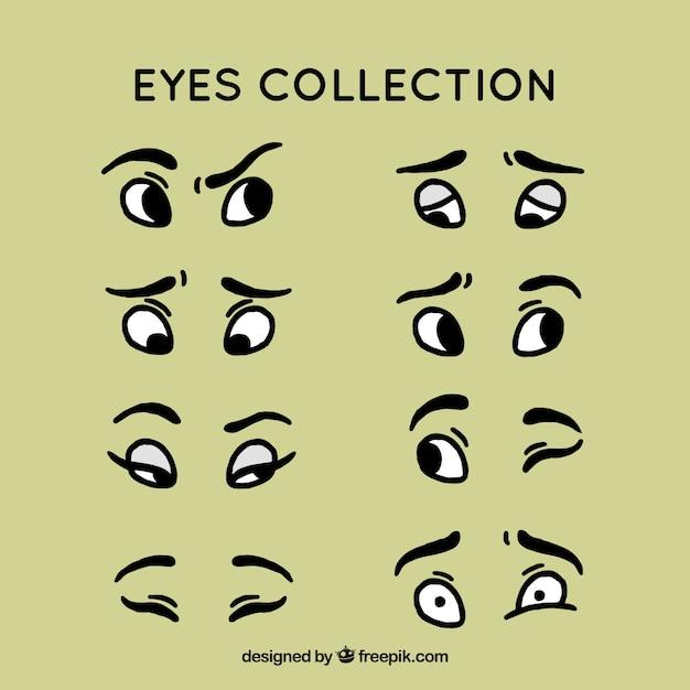 Main oeil dessiné collection ensemble Vecteur gratuit