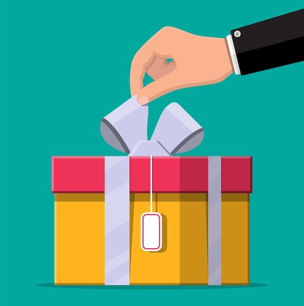 Main Ouvre La Boîte Cadeau, Déballage, Déballé. Vecteur Premium
