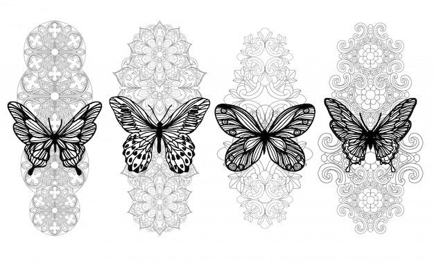 Main De Papillon Art Tatouage Dessin Et Croquis Avec Dessin Au Trait Isolé Sur Blanc Vecteur Premium