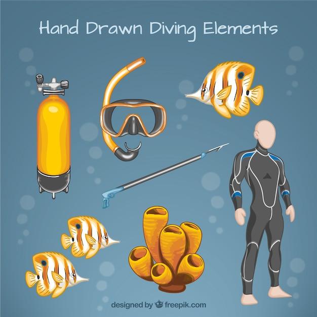 Main personne dessinée avec le matériel et les poissons de plongée Vecteur gratuit