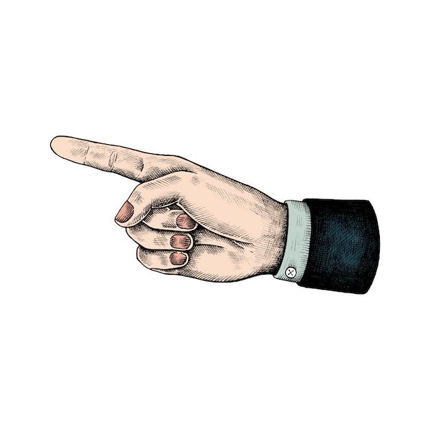 Main pointée dessinée Vecteur gratuit
