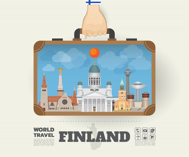 Main portant le sac d'infographie finlande landmark global travel and journey Vecteur Premium