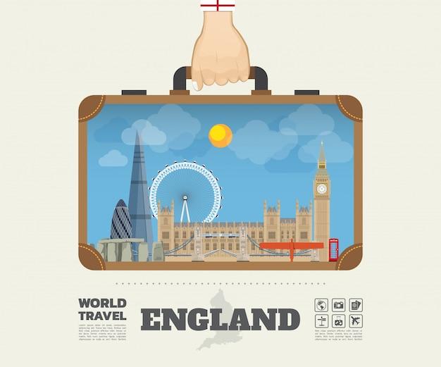 Main portant le sac infographique de l'angleterre landmark global travel and journey. Vecteur Premium